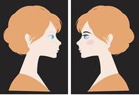お化粧で綺麗に変わる女性と黒背景