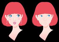 メイクで変わる女性と黒背景