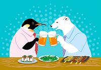 シロクマとペンギン/ビール/乾杯(暑中見舞い)