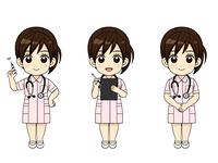 様々なポーズの看護師