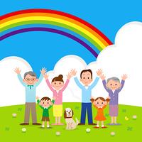 幸せな大家族と虹