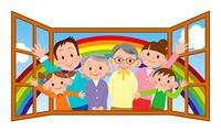 幸せな大家族と窓と虹