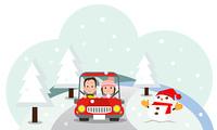 冬にドライブデートするカップル