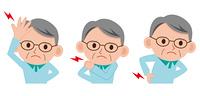 頭痛・肩こり・腰痛のシニア男性セット