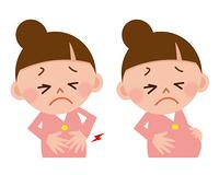 腹痛と陣痛の女性