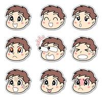 男の子の表情セット