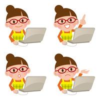 パソコンをする主婦セット