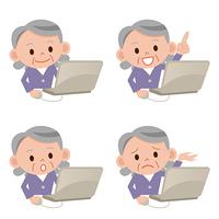 パソコンをするシニア女性セット