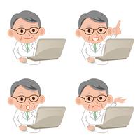 パソコンをする医者セット