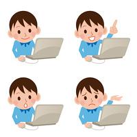 パソコンをする男の子セット