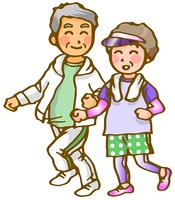 老夫婦のジョギング