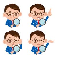 虫眼鏡で検索するビジネスマン