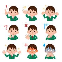 男子学生の表情セット