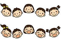 5人の子供たち普通顔と笑顔セット一列