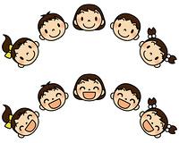 5人の子供たち普通顔と笑顔セット半円