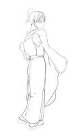着物の女性(塗り絵用)