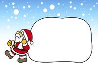 サンタのおじさんと大きな袋(雪景色)