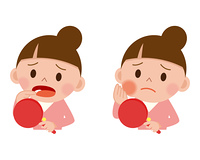 虫歯で悩む女性のセット