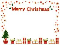チェック柄のクリスマスカード