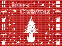 チェック背景のクリスマス素材