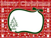 チェック背景のクリスマスカード
