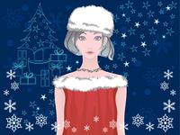 サンタコスプレの女の子とクリスマス素材