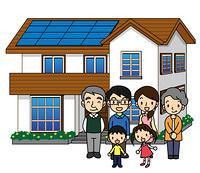 一軒家 ソーラーパネル 3世代