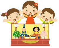 ひな祭り ひな人形と喜ぶ3人の女の子