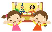 ひな祭り 2人の女の子とお雛様