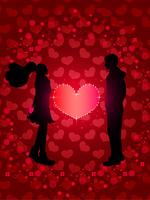 バレンタイン_ピンクのハートとカップル