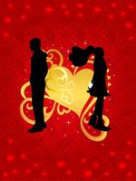 バレンタイン_ゴールドのハートとカップル