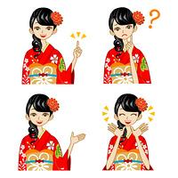 着物女性/赤/表情セット