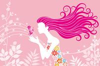 女性と蝶/春/横位置