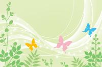 蝶と春の植物
