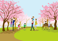 公園でお花見する人々