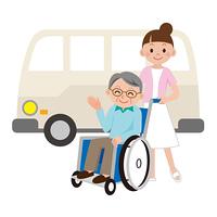 介護士と送迎バス