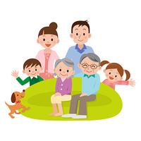 リビングに集まる家族三世代