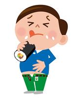 恵方巻を食べて満腹の男性