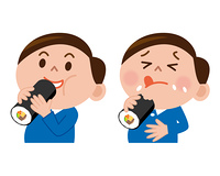 恵方巻を食べる男性のセット
