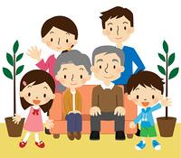 3世代 家族 観葉植物付き