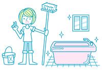お風呂掃除をした女性