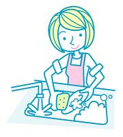 皿を洗う女性