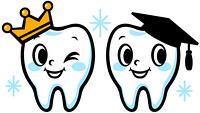 歯のキャラクター(王冠と卒業帽子)