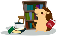 本の整理をするハリネズミ