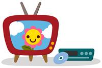 かわいいテレビとDVDプレーヤー