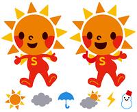 太陽のキャラクターと天気マーク