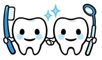 歯のキャラクター(歯ブラシと鏡)