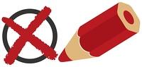 バツ印と赤エンピツ