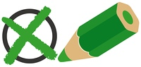 バツ印と緑の色エンピツ