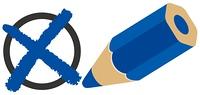 バツ印と青エンピツ